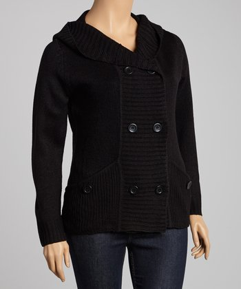 Black Pocket Hooded Cardigan - Plus