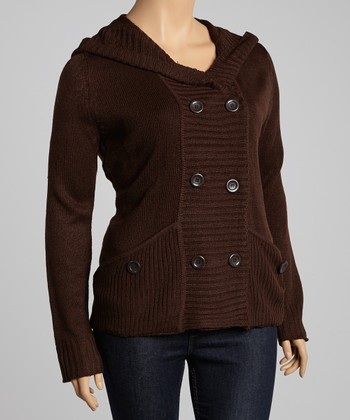 Chocolate Pocket Hooded Cardigan - Plus