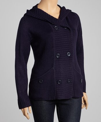 Navy Pocket Hooded Cardigan - Plus