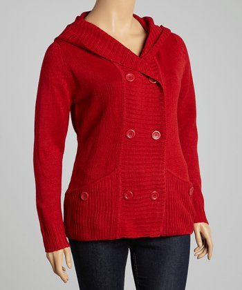 Red Pocket Hooded Cardigan - Plus
