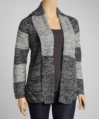 Ivory & Gray Marled Stripe Open Cardigan - Plus