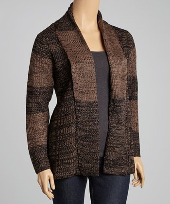 Taupe & Brown Marled Stripe Open Cardigan - Plus
