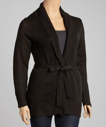 Black Textured Tie-Waist Cardigan - Plus