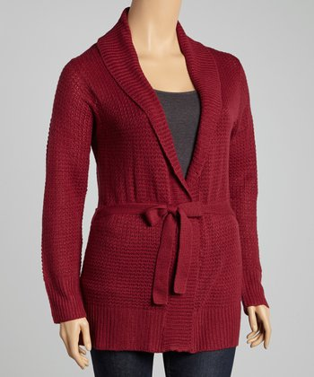 Garnet Textured Tie-Waist Cardigan - Plus
