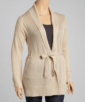 Oatmeal Textured Tie-Waist Cardigan - Plus