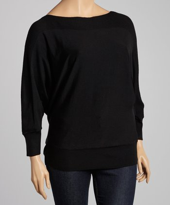 Black Ribbed Dolman Sweater - Plus