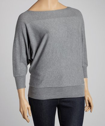 Light Gray Ribbed Dolman Sweater - Plus
