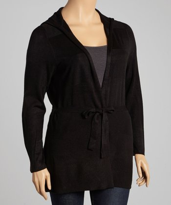 Black Tie-Waist Hooded Cardigan - Plus