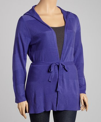 Blueberry Tie-Waist Hooded Cardigan - Plus