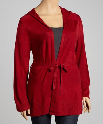 Ruby Tie-Waist Hooded Cardigan - Plus