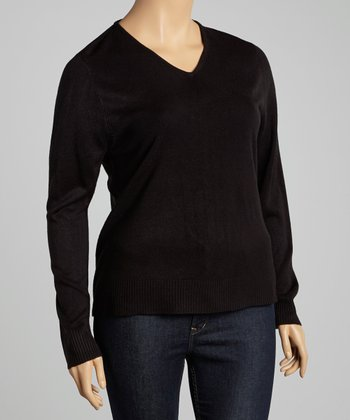 Black V-Neck Sweater - Plus