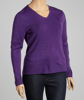 Eggplant V-Neck Sweater - Plus