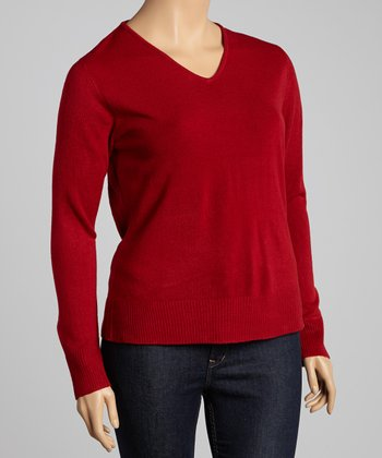 Red V-Neck Sweater - Plus