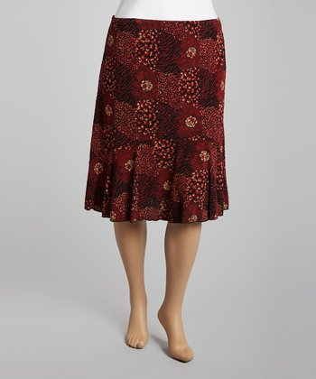 Red Floral Pull-On Skirt
