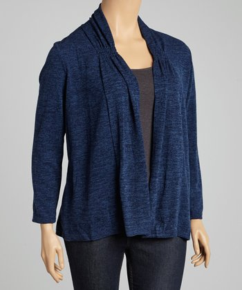 Navy Marled Open Cardigan