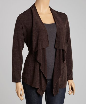 Brown Draped Open Cardigan