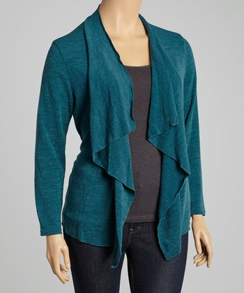 Teal Draped Open Cardigan