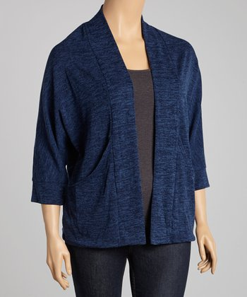 Navy J-Pocket Open Cardigan - Plus