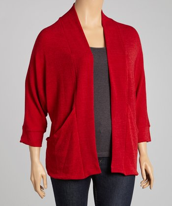 Red J-Pocket Open Cardigan - Plus