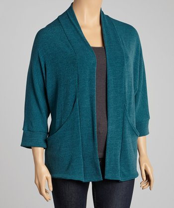 Teal J-Pocket Open Cardigan - Plus