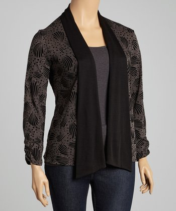 Black & Charcoal Abstract Open Cardigan - Plus
