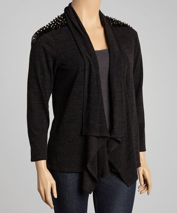 Black & Charcoal Nail Head Open Cardigan - Plus