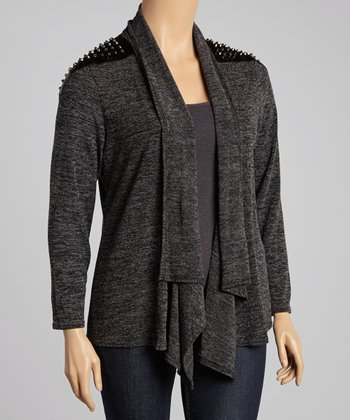 Gray Nail Head Open Cardigan - Plus