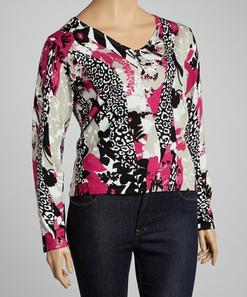 Pink & Black Leopard V-Neck Sweater - Plus