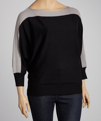 Black & Gray Color Block Dolman Sweater - Plus