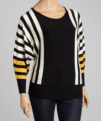 Mustard & Black Stripe Dolman Sweater - Plus