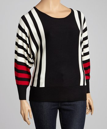 Red & Black Stripe Dolman Sweater - Plus
