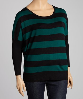 Emerald & Brown Stripe Dolman Sweater - Plus