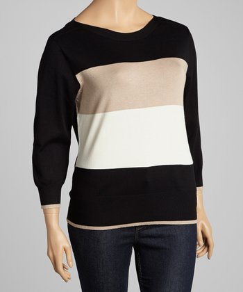 Black & Beige Color Block Sweater - Plus