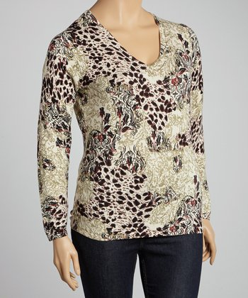 Beige & Black Floral Sweater - Plus