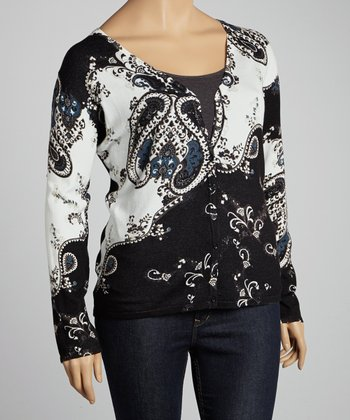 Black & White Paisley Cardigan - Plus