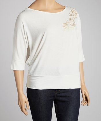 Ivory Floral Embroidered Dolman Top - Plus