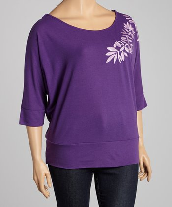 Purple Embroidered Top - Plus