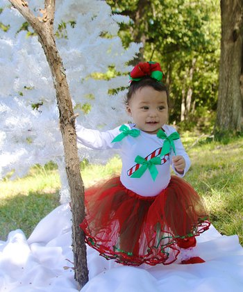 White & Green Candy Cane Bodysuit - Infant