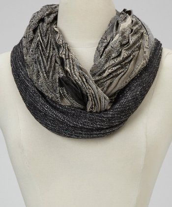 Black & Gray Paisley Pleat Infinity Scarf