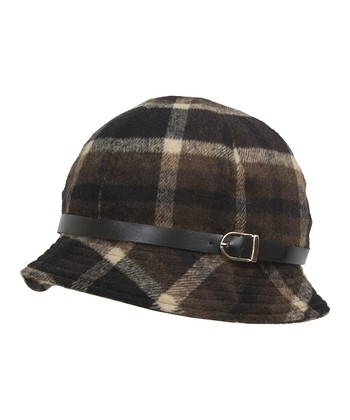 Brown & Tan Plaid Buckle Bucket Hat