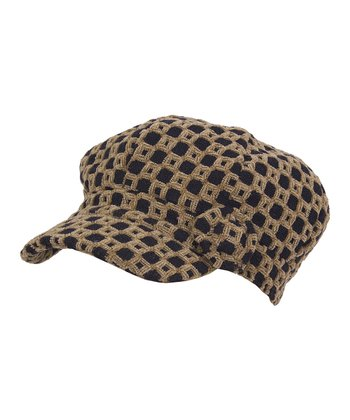 Camel & Black Checkerboard Newsboy Cap