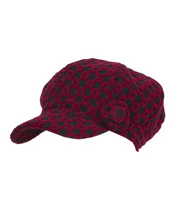 Red & Black Checkerboard Newsboy Cap