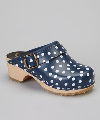 Navy Polka Dot Clog - Kids