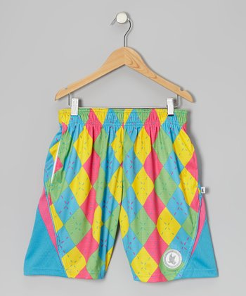 Blue Argyle Lacrosse Shorts - Boys