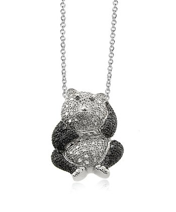 Silver & Black Diamond Panda Pendant Necklace
