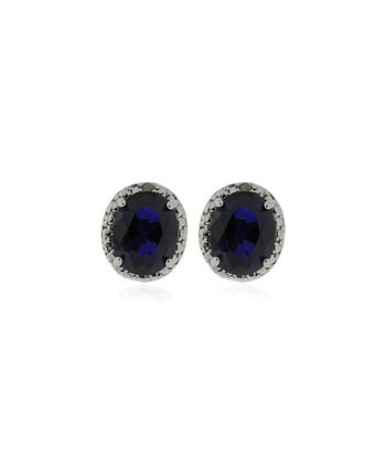 Sapphire & Diamond Oval Earrings