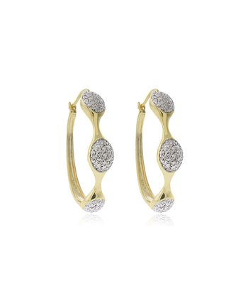 Gold Diamond Oval Hoop Earrings