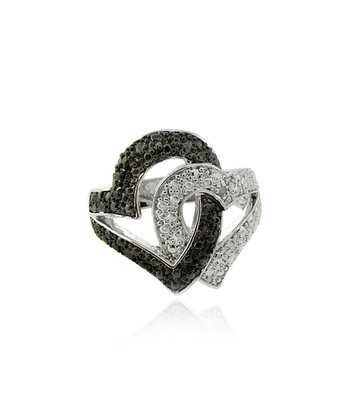 Silver & Black Diamond Heart Ring