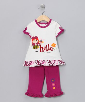 Ivory Fuchsia Flutter Top & Pants - Infant