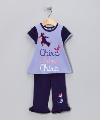 Purple 'Chirp' Flutter Top & Pants - Infant & Toddler